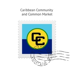 Caribbean community and common market flag postage vector