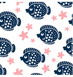 cartoon fish pattern vector image vector image