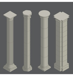 Classical columns isometric vector image vector image