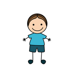 Colorful hand drawing cute boy icon vector