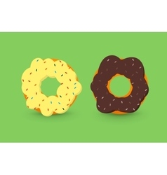 Creamy and chocolate donuts vector image vector image