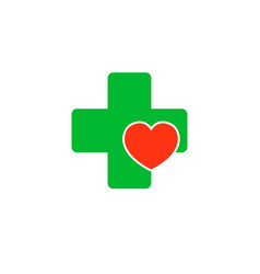 cross with a heart logo for the clinic vector image