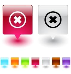 Delete cross square button vector image vector image