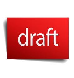 Draft red square isolated paper sign on white vector