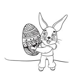 Easter rabbit contour vector