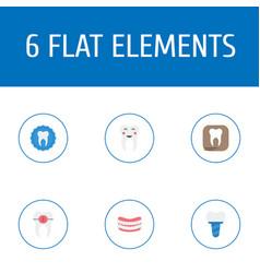 Flat icons implantation enamel brace and other vector