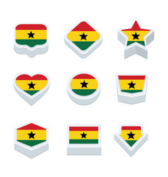 Ghana flags icons and button set nine styles vector