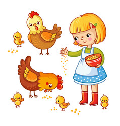 Girl feeding hens and chickens vector