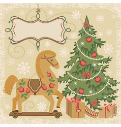 Horse and christmas tree with gifts vector