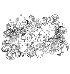 Love doodles background vector