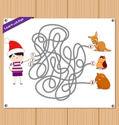 Maze Game funny kid try to find animals vector image