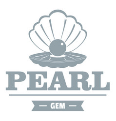 Pearl gem logo simple gray style vector