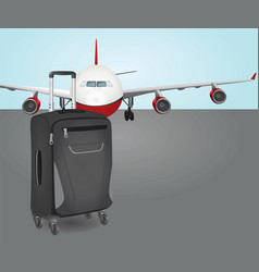 plane with suit case vector image