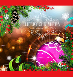 Purple christmas ball with sparkles and fir vector