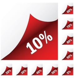 Red paper sickers with discount vector image