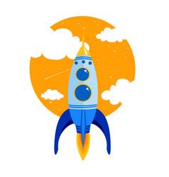 rocket quick flies in sky vector image vector image