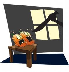 scared pumpkins vector image vector image