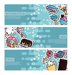 set of horizontal banners about confectionary vector image