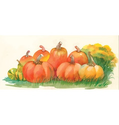 Set of water color pumpkins vector
