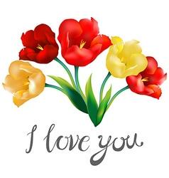 Tulip Flower Design Background I Love You Vector Image
