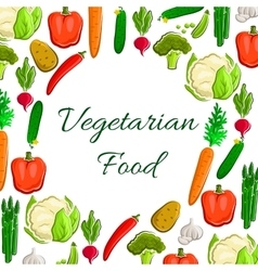 Vegetables poster vegetarian veggies food vector