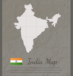Vintage india map paper card map silhouette vector
