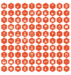 100 wedding icons hexagon orange vector