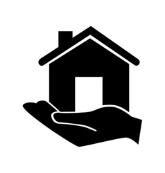 Hand holding house classic property icon vector