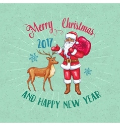 Retro christmas poster with santa claus and deer vector