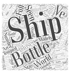 Ship in a bottle word cloud concept vector