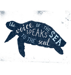 The voice of the sea speaks to the soul lettering vector