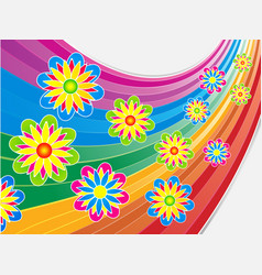 Bright summer flowers on curved rainbow vector