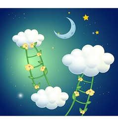 Green ladders with flowers going to the clouds vector