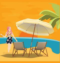 Girl woman in beach seaside waiting for sunset vector