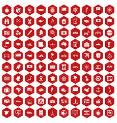 100 cartography icons hexagon red vector