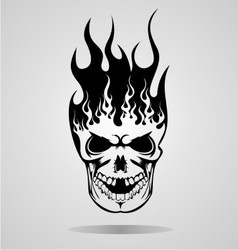 Burning skull tattoo vector