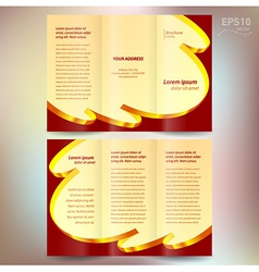 Brochure design template folder leaflet ribbon vector