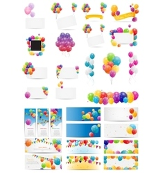 Color glossy balloons card mega set vector