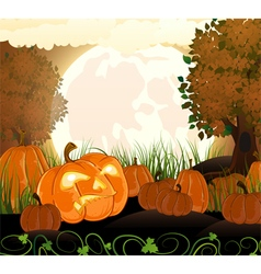 Full moon and pumpkins vector