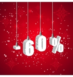 Holiday winter sale discount banner hanging 3d vector