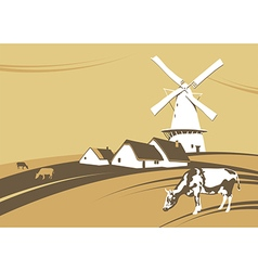 Mill and cows vector