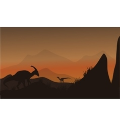 On the hills silhouette eoraptor and vector