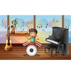 A happy drummerboy inside the music room vector image vector image