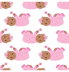 African american baby girl seamless pattern vector