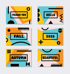 assorted pink orange and blue fall modern cards vector image