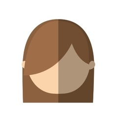 Avatar woman face hairstyle shadow vector