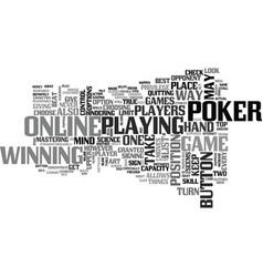 Beat your online poker opponent text word cloud vector