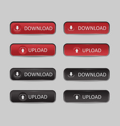 Button set download and upload vector