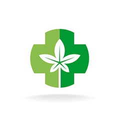 Cross and leaves logo Medical pharmacy symbol with vector image vector image