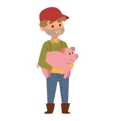 Farmer and pig vector
